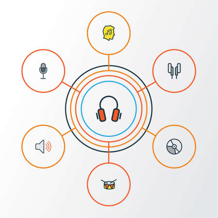 Audio Colorful Outline Icons Set. Collection Of Barrel, Volume, Lover And Other Elements. Also Includes Symbols Such As Headphone, Volume, Circle.