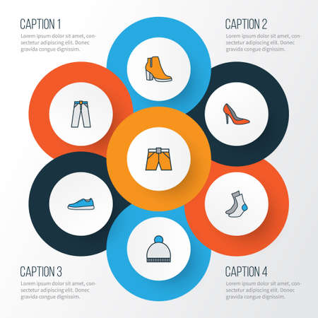 trouser: Garment Colorful Outline Icons Set. Collection Of Trousers, Beanie, Female Boots And Other Elements. Also Includes Symbols Such As Briefs, Heels, Boots.