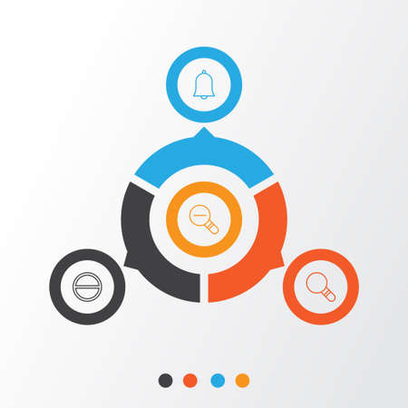 refuse: Network Icons Set. Collection Of Research, Refuse, Bell And Other Elements Illustration