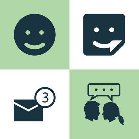 proclamation: Social Icons Set. Collection Of Chat, Smile, Conversation And Other Elements