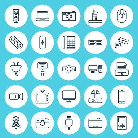 Device Icons Set. Collection Of Surveillance, Gadget, Control Device And Other Elements. Also Includes Symbols Such As Speaker, Mp3, Cable.