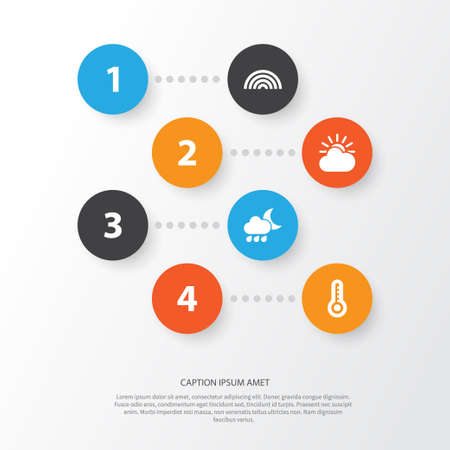 Climate Icons Set. Collection Of Nightly, Sun-Cloud, Colors And Other Elements. Also Includes Symbols Such As Thermometer, Sunlight, Temperature. Stock Photo