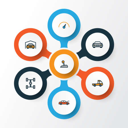 Auto Colorful Outline Icons Set. Collection Of Shed, Automobile, Level And Other Elements. Also Includes Symbols Such As Mover, Car, Wheelbase. Illustration