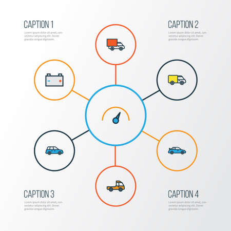 Car Colorful Outline Icons Set. Collection Of Track, Cabriolet, Sedan And Other Elements. Also Includes Symbols Such As Prime, Cabriolet, Battery.