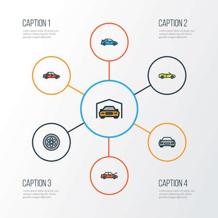 Automobile Colorful Outline Icons Set. Collection Of Automobile, Sport, Drive And Other Elements. Also Includes Symbols Such As Cabriolet, Drive, Hood.