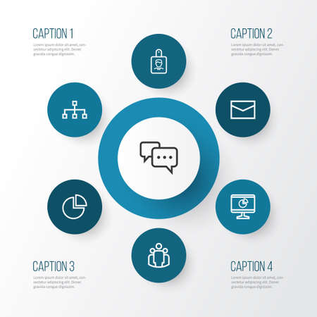 dashboard: Business Outline Icons Set. Collection Of Team, Mail, Structure And Other Elements. Also Includes Symbols Such As Circle, Team, Dashboard. Illustration