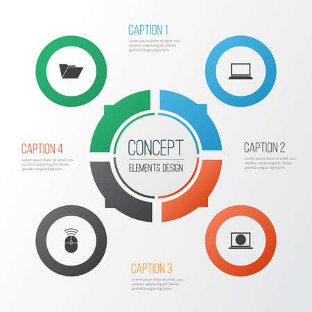 ガジェットのアイコンを設定します。マウス コンピューター、ノート パソコン、Web、その他の要素のコレクションです。またコントロール、ノート