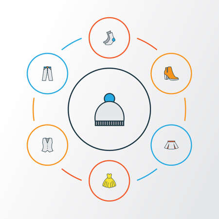 Garment Colorful Outline Icons Set. Collection Of Female Boots, Skirt, Trousers And Other Elements. Also Includes Symbols Such As Waistcoat, Girl, Mini.