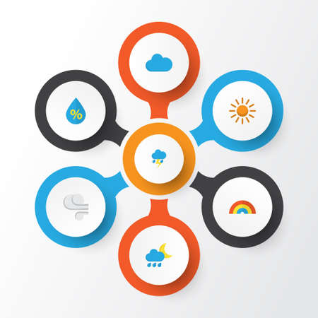 Climate Flat Icons Set. Collection Of Storm, Hailstones, Lightning And Other Elements. Also Includes Symbols Such As Sun, Sunny, Shower. Illustration