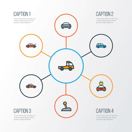 Auto Colorful Outline Icons Set. Collection Of Automobile, Electric, Level And Other Elements. Also Includes Symbols Such As Tesla, Automatic, Electric.