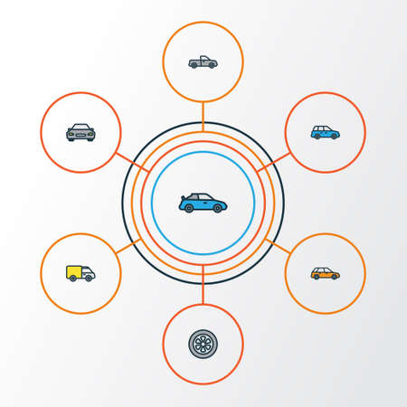 Car Colorful Outline Icons Set. Collection Of Drive, Track, Auto And Other Elements. Also Includes Symbols Such As Wagon, Sedan, Car.