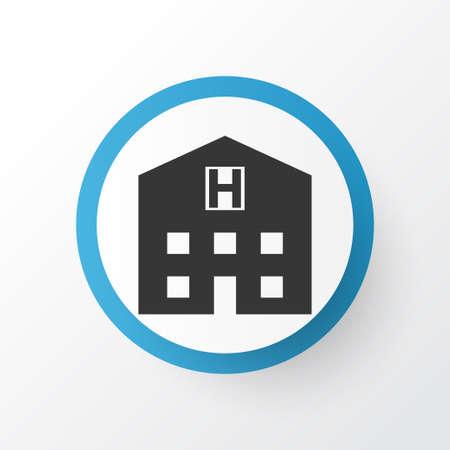 病院アイコンのシンボル。プレミアム品質は、トレンディなスタイルの隠れ家要素を分離しました。