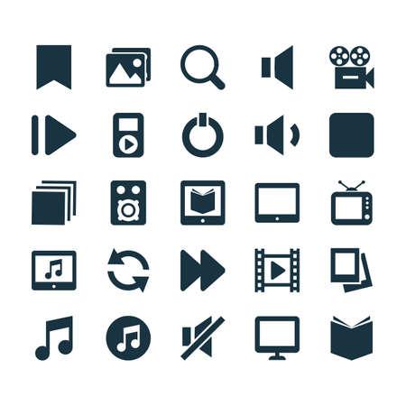 音楽のアイコンを設定します。アルバムや一時停止、パームトップなどの要素のコレクションです。パームトップ, ビデオ, 検索などの記号も含まれ