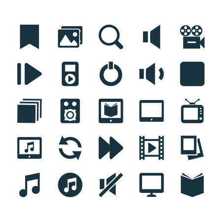 Music Icons Set. Collection Of Album, Pause, Palmtop And Other Elements. Also Includes Symbols Such As Palmtop, Video, Search. Illustration