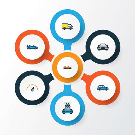 Auto Colorful Outline Icons Set. Collection Of Washing, Automobile, Machine And Other Elements. Also Includes Symbols Such As Bus, Sedan, Speed. Illustration