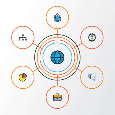 Trade Colorful Outline Icons Set. Collection Of Team, World, Network And Other Elements. Also Includes Symbols Such As Planet, Diagram, Group.