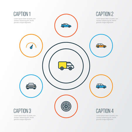 Car Colorful Outline Icons Set. Collection Of Automobile, Sedan, Speed And Other Elements. Also Includes Symbols Such As Sport, Cabriolet, Wagon. Illustration