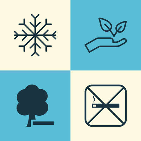 Eco-Friendly Icons Set. Collection Of Delete Woods, Save World, Cigarette And Other Elements. Also Includes Symbols Such As Protect, Nature, Tree.