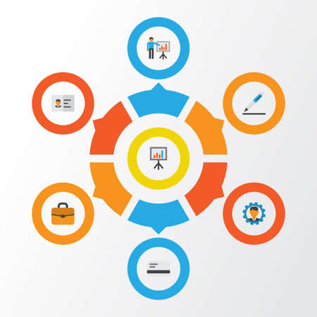 career entry: Business Flat Icons Set. Collection Of Identification, Payment, Developer And Other Elements. Also Includes Symbols Such As Briefcase, Card, Gear.