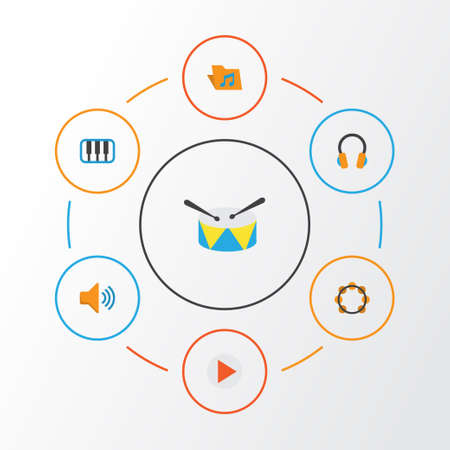Music Flat Icons Set. Collection Of Audio, Band, Rhythm Elements. Also Includes Symbols Such As Voice, Drum, Archive.