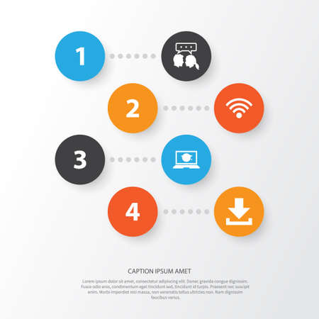 Social Icons Set. Collection Of Wireless Connection, Down Arrow, Laptop And Other Elements. Also Includes Symbols Such As Download, Laptop, Web.