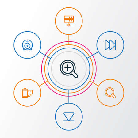 Media Outline Icons Set. Collection Of Forward, Magnifier, Datacenter And Other Elements. Also Includes Symbols Such As Datacenter, Zoom, Media. Illustration