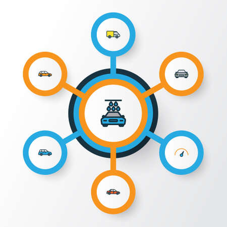 Car Colorful Outline Icons Set. Collection Of Speed, Washing, Car And Other Elements. Also Includes Symbols Such As Counter, Drive, Speed. Illustration