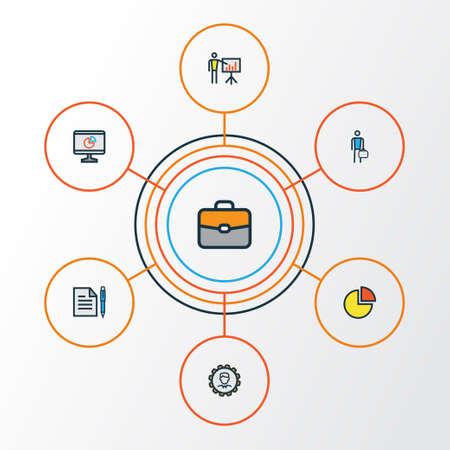 introducing: Business Colorful Outline Icons Set. Collection Of Pie Chart, Agreement, Administrator And Other Elements. Also Includes Symbols Such As Portfolio, Worker, Chart.