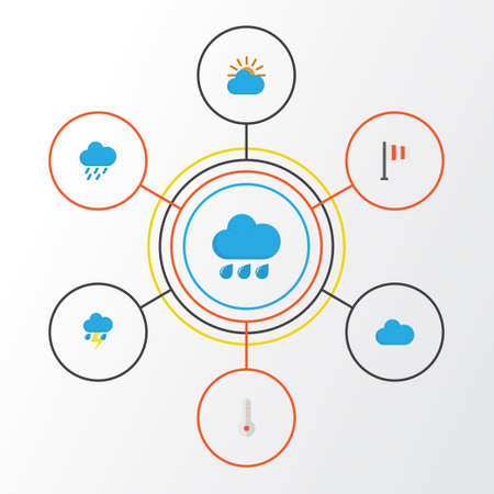 Weather Flat Icons Set. Collection Of Banner, Shower, Rain And Other Elements