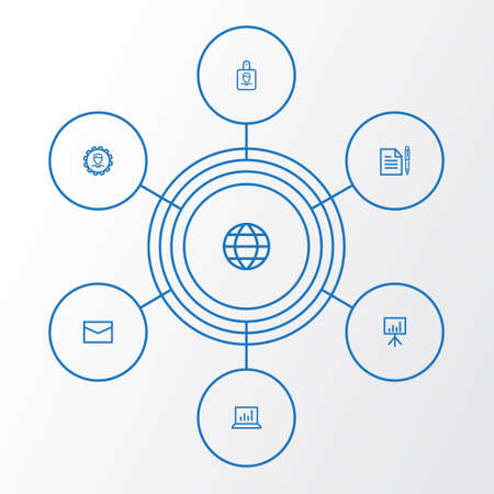 Business Outline Icons Set. Collection Of Agreement, Statistics, Whiteboard And Other Elements