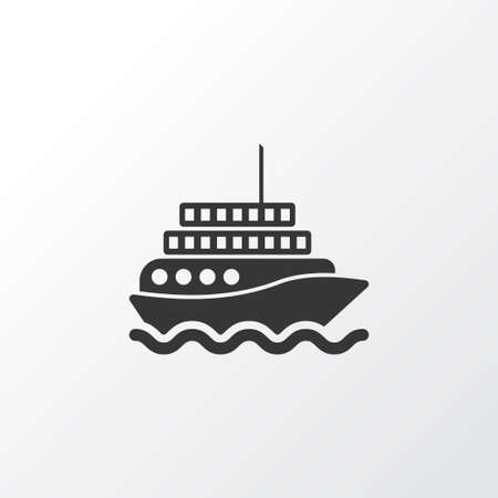 Premium Quality Isolated Yacht Element In Trendy Style.  Motor Ship Icon Symbol.
