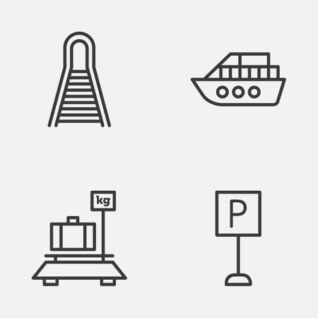 heaviness: Transportation Icons Set. Collection Of Baggage, Railway, Roadsign And Other Elements Illustration