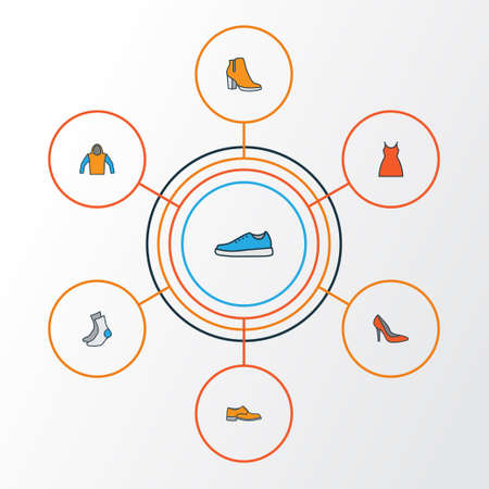 sleeveless hoodie: Garment Colorful Outline Icons Set. Collection Of Heels, Dress, Sneakers And Other Elements