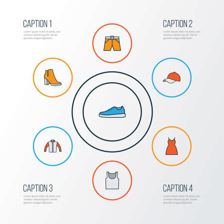 Dress Colorful Outline Icons Set. Collection Of Shorts, Female Boots, Underwear And Other Elements Illustration