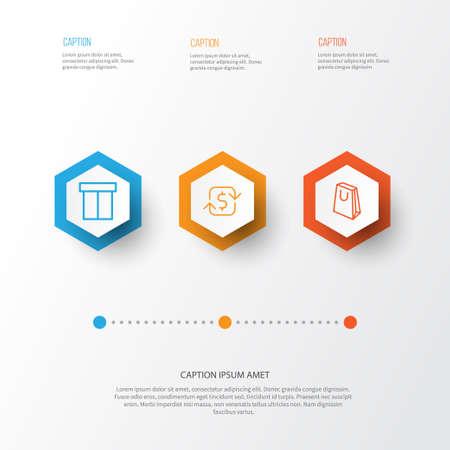 E-Commerce Icons Set. Collection Of Box, Handbag, Recurring Payements Elements Reklamní fotografie - 83256867