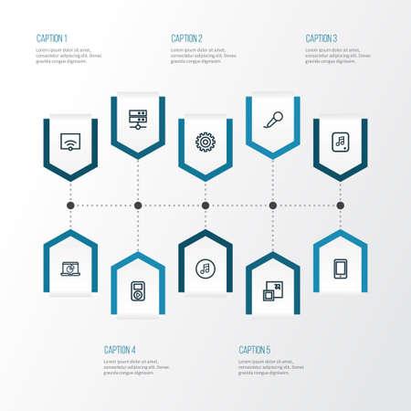 Media overzicht Icons Set. Verzameling van speler, maximaliseren, Infographic en andere elementen