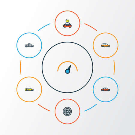 Car Colorful Outline Icons Set. Collection Of Speed, Drive, Electric And Other Elements