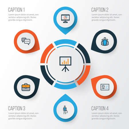 Business Colorful Outline Icons Set. Collection Of Conversation, Worker, Id Badge And Other Elements. Also Includes Symbols Such As Comment, Team, Diagram. Иллюстрация