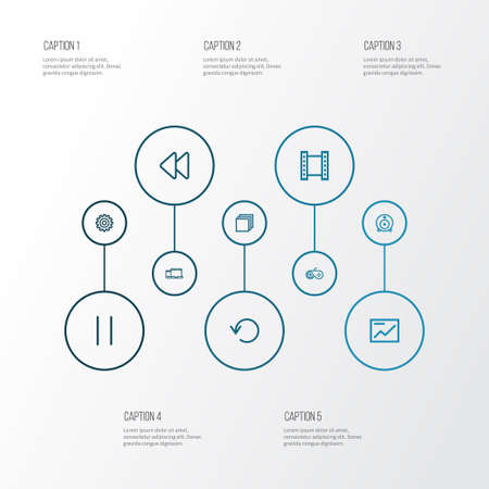 retry: Music Outline Icons Set. Collection Of Gamepad, Chart, Backward And Other Elements Illustration