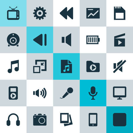 Multimedia Icons Set. Collection Of Backward, Screen, Mute And Other Elements. Also Includes Symbols Such As Megaphone, Pause, Volume.