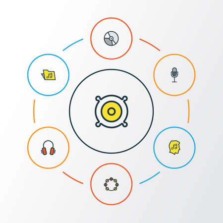 Audio Colorful Outline Icons Set. Collection Of Amplifier, Tambourine, Circle And Other Elements Illustration