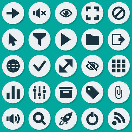 visible: Interface Icons Set. Collection Of Application, Earth, Conceal And Other Elements. Also Includes Symbols Such As Equalizer, Magnifier, Exit. Illustration