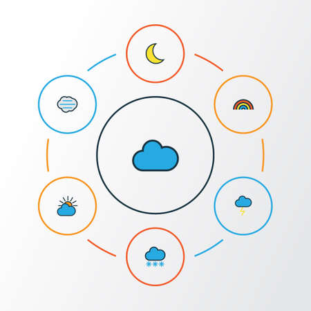 overcast: Air Colorful Outline Icons Set. Collection Of Tempest, Rainbow, Clouded And Other Elements