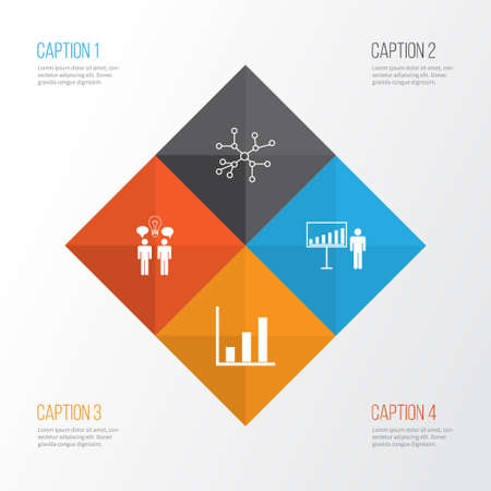Board Icons Set. Collection Of Project Presentation, Co-Working, Bar Chart And Other Elements Illustration