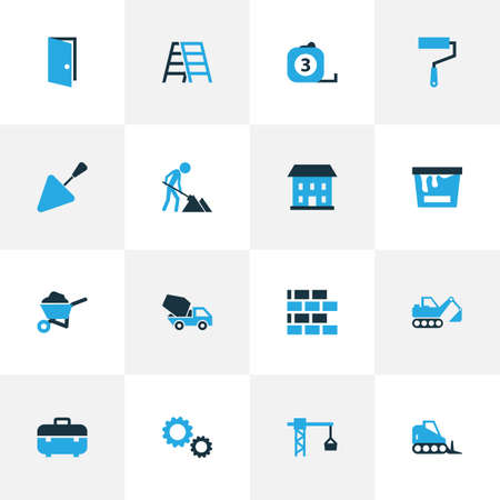 Construction Colorful Icons Set. Collection Of Open, Maintenance, Case And Other Elements