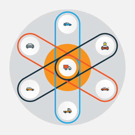 Auto Colorful Outline Icons Set. Collection Of Electric, Machine, Automobile And Other Elements Illustration