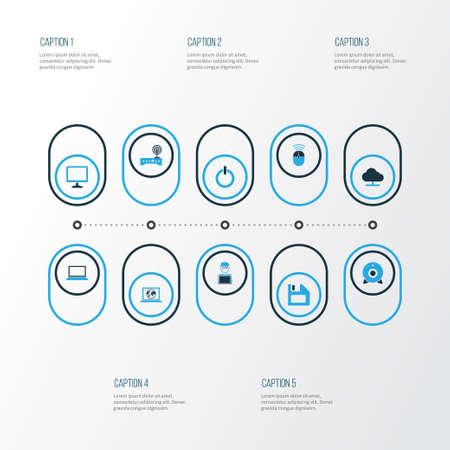 Hardware colorful icons set.