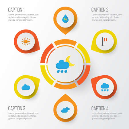 rainy season: Climate Flat Icons Set. Collection Of Banner, Overcast, Cloud And Other Elements. Also Includes Symbols Such As Flag, Cloudy, Clouds.