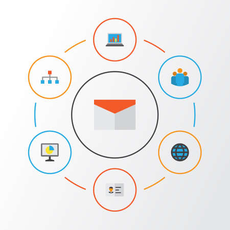 Business Flat Icons Set. Collection Of Group, Hierarchy, Diagram And Other Elements. Also Includes Symbols Such As Network, Group, Web.
