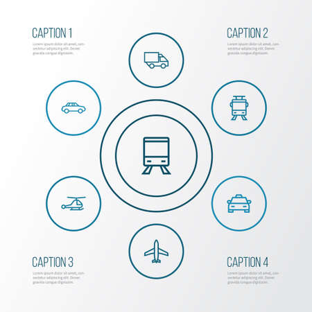 Transportation Outline Icons Set. Collection Of Train, Taxi, Helicopter And Other Elements. Also Includes Symbols Such As Aircraft, Plane, Copter.